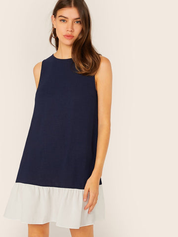 Navy Blue Round Neck Sleevess Keyhole Back Colorblock Ruffle Hem Dress