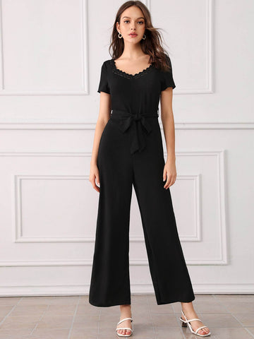 Black V-Neck Lace Trim Belted Maxi Wide Leg Jumpsuit