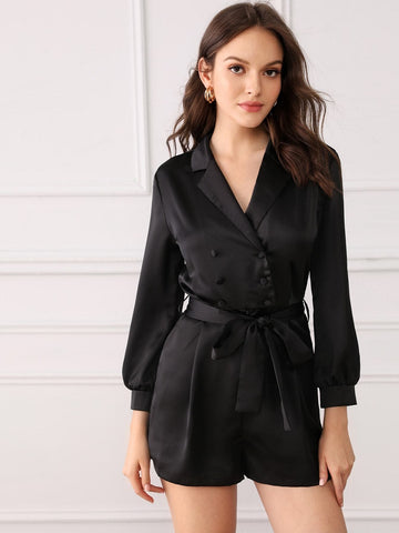 Black V-Neck Notch Collar Double Breasted Belted Romper Jumpsuit