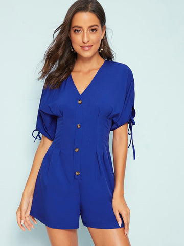 Blue V-Neck High Waist Solid Knot Cuff Button Front Romper Jumpsuit