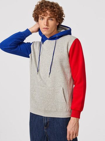 Drawstring Colorblock Contrast Sleeve Hooded Sweatshirt