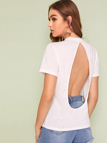 White Solid Stand Collar Backless Tee Top
