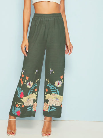 Green High Waist Floral Print Wide Leg Loose Pants
