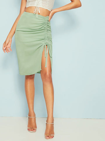 Green High Waist Solid Drawstring Ruched Zip Back Skirt