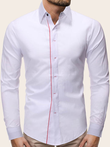 White Long Sleeve Contrast Panel Shirt