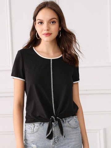 Black Round Neck Contrast Binding and Stitch Knot Hem Top