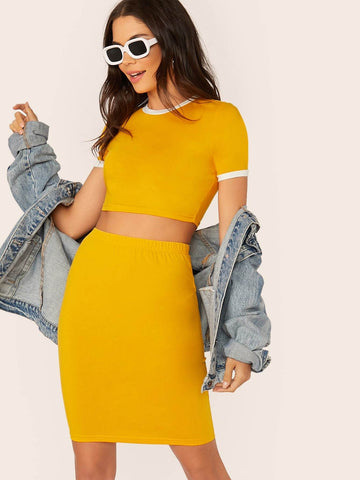 Yellow Round Neck Short Sleeve Slim Fit Fitted Ringer Top & Pencil Skirt Set