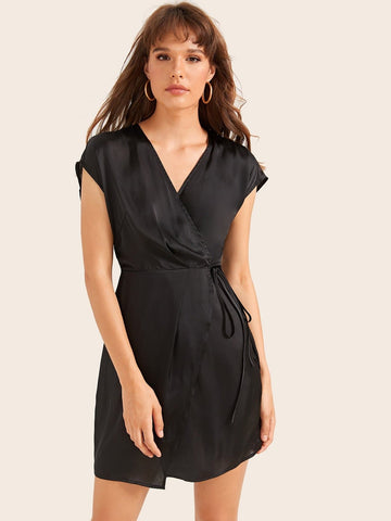 Black V-Neck Cap Sleeve Wrap Belted Satin Dress