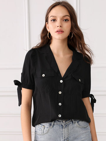 Black Short Sleeve Flap Pocket Knotted Cuff Shirt