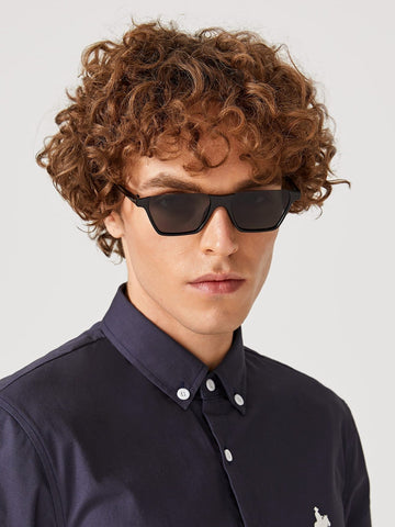 Black Solid Flat Top Sunglasses