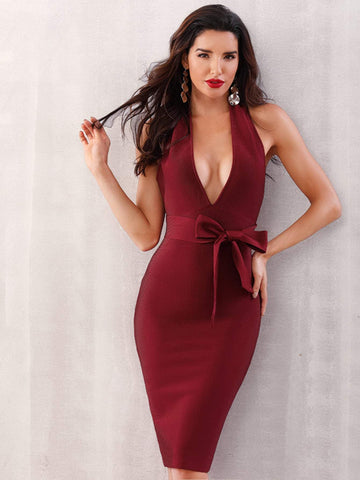 Burgundy Sleeveless Plunge Neck Tie Front Backless Halter Bodycon Dress