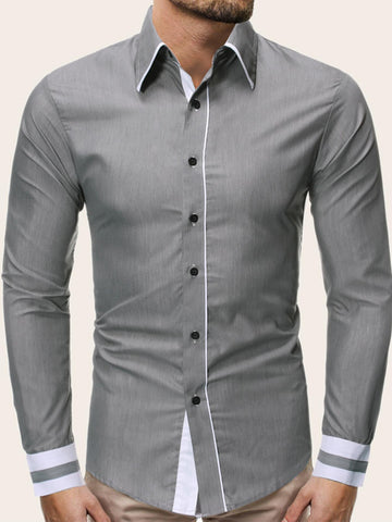 Grey Long Sleeve Contrast Panel Button Front Shirt