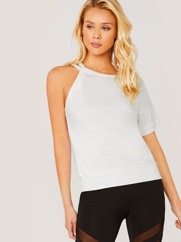 White Asymmetrical Neck One Shoulder Cut Out Short Sleeve T-Shirt Top