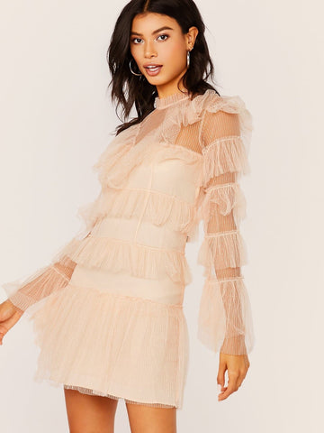 Pink High Neck Tiered Ruffle Mesh Long Sleeve Mini Dress