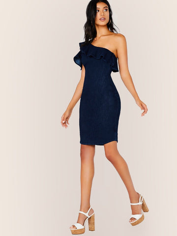 Navy Blue Sleeveless Ruffle One Shoulder Bodycon Mini Denim Dress
