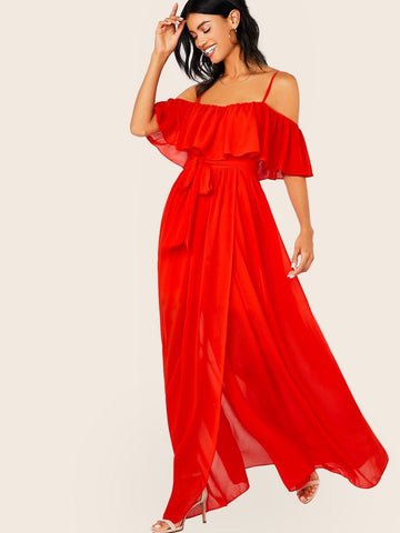 Red Spaghetti Strap Chiffon Off Shoulder Waist Tie Front Slit Maxi Dress