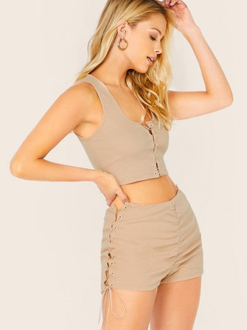 Sleeveless Lace Up Rib Knit Crop Tank Top And Shorts Set