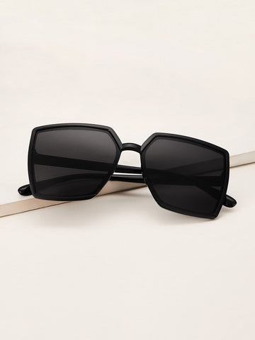 Black Plain Square Sunglasses