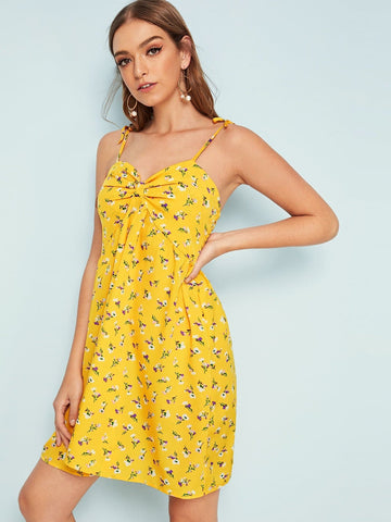 Yellow Sleeveless Spaghetti Strap Ditsy Floral Print Knotted Front Sundress