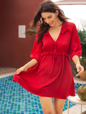 Red V-Neck Lettuce Frill Tie Front Puff Sleeve Dress