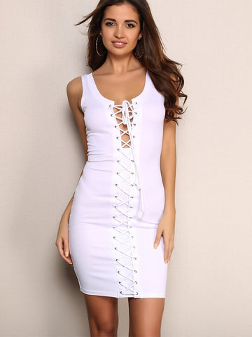 White Sleeveless Round Neck Lace Up Detail Cut-out Bodycon Dress