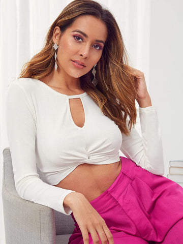 White Long Sleeve Keyhole Neck Twist Front Crop Top