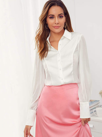 White Long Sleeve Sheer Panel Pleated Back Solid Shirt