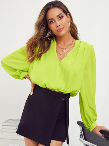 Neon Lime Green Long Sleeve V-neck Elastic Waist Top