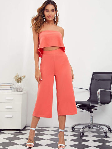 Pastel Orange Strapless Sleeveless Ruffle Tube Crop Top & Palazzo Pants Set