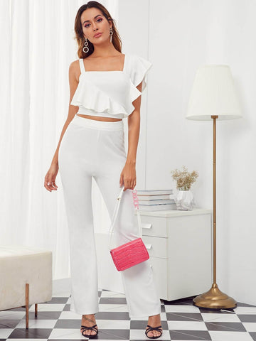 White Butterfly Sleeve Asymmetrical Neck Solid Ruffle Trim Top and High Waist Pants Set
