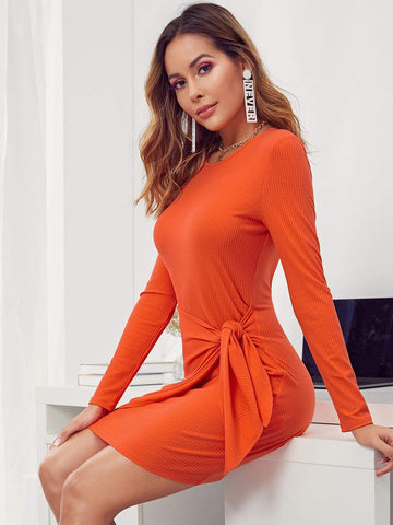 Round Neck Neon Orange Long Sleeve Rib-knit Knot Front Bodycon Dress