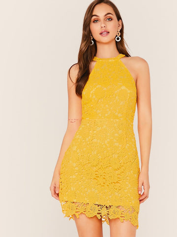 Yellow Sleeveless Halterneck Guipure Lace Overlay Dress