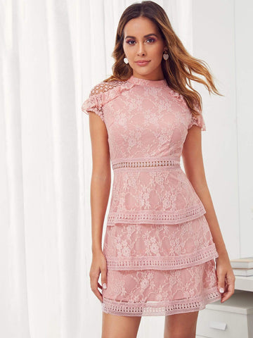 Pastel Pink Stand Collar Zip Back Mock-neck Layered Lace Dress