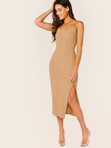 Spaghetti Strap Sleeveless Rib Knit Side Slit Midi Tank Dress