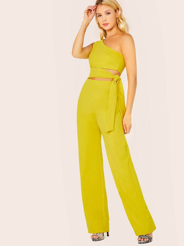Yellow Sleeveless One Shoulder Waist Tie Cut Out Straight Jumpsuit