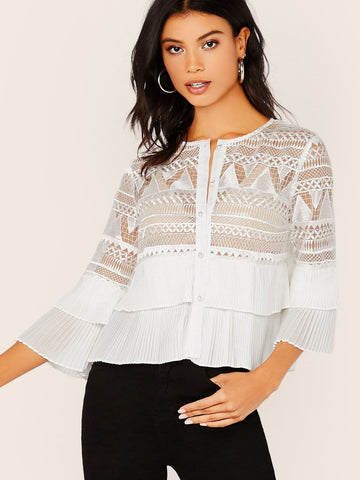 Round Neck White Button Up Embroidered Mesh Pleated Detail Blouse Top