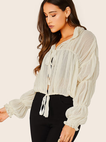 Beige Tie Front Crinkled Fabric Puff Sleeve Jacket