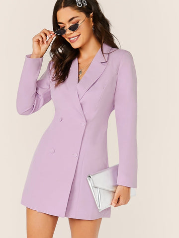 Purple V-Neck Double Breasted Mini Blazer Dress