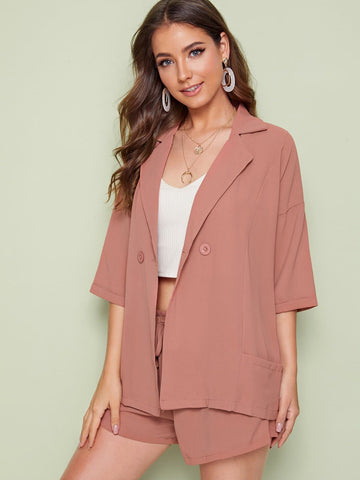 Three Quarter Sleeve Notched Button Pocket Detail Top With Drawstring Waist Shorts