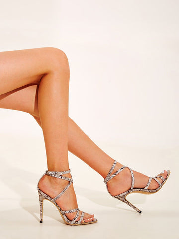 Open Toe Cross Strap Snakeskin Stiletto Heels