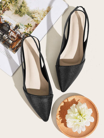 Black Point Toe Slingback Flats