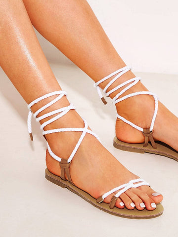 White Open Toe Tie Leg Strappy Sandals