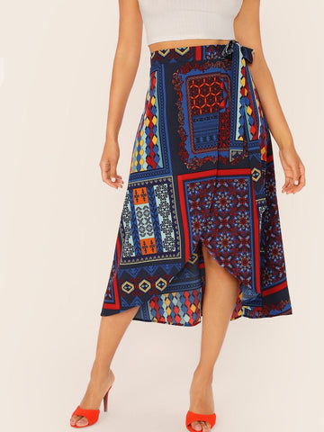 Mid Waist Scarf Print Wrap Knotted Skirt