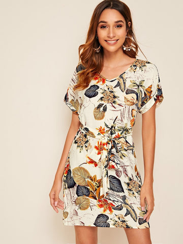 Round Neck Plants Print Roll Up Sleeve Belted Dress