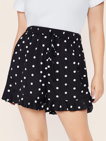 Black Plus Polka-dot Print Flounce Hem Shorts