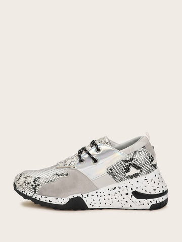 Lace Up Round Toe Snakeskin Print Chunky Sole Trainers