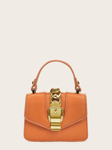 Orange PU Metal Chain Decor Satchel Bag