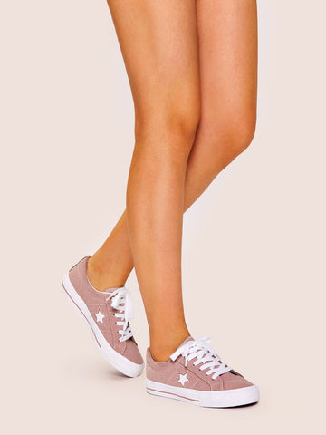 Pink Round Toe Star Detail Lace-up Low Top Sneakers