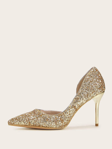 Sequins Point Toe Glitter Stiletto Heels