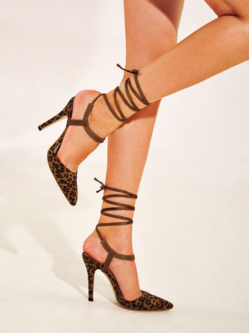 Brown Point Toe Leopard Print Tie Leg Stiletto Heels
